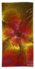 Vibrant Red And Gold Hand Towel