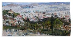 View Of Athens From Acropolis Hand Towel