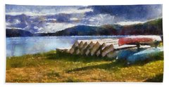 Bath Towel featuring the painting View Of The Lake From Camp Dorset by Mario Carini