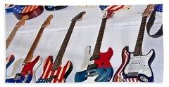 Vintage American Flag Guitars Art Prints Bath Towel by Valerie Garner
