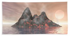 Hand Towel featuring the digital art Volcano Island by Phil Perkins