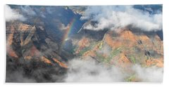 Waimea Canyon Rainbow Hand Towel by Rebecca Margraf