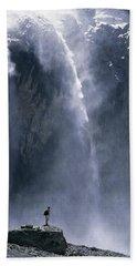 Walker Beneath Waterfall In The Cirque Hand Towel