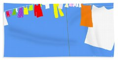 Hand Towel featuring the digital art Washing Line Simplified Edition by Barbara Moignard