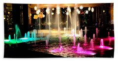 Water Fountain With Stars And Blue Green With Pink Lights Bath Towel