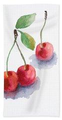 Watercolor Cherry  Bath Towel