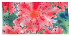 Watercolor Flowers Bath Towel