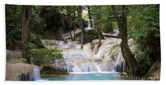 Waterfall In Deep Forest Hand Towel