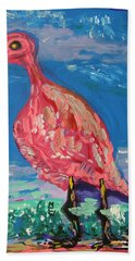 Bath Towel featuring the painting Wave Fisherman by Mary Carol Williams