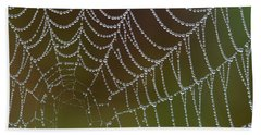 Bath Towel featuring the photograph Web With Dew by Daniel Reed