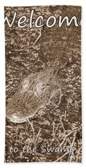 Welcome To The Swamp - Sepia Hand Towel by Carol Groenen