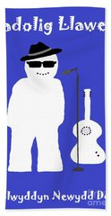 Welsh Snowman Musician Hand Towel by Barbara Moignard