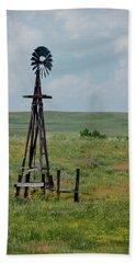 Western Kansas Windmill Bath Towel