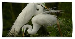 White Egrets Working Together Hand Towel by Myrna Bradshaw
