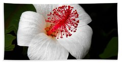 Bath Towel featuring the photograph White Hibiscus Flower by Rebecca Margraf