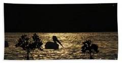 Hand Towel featuring the photograph White Pelican Evening by Dan Friend
