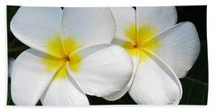 White Plumerias Bath Towel