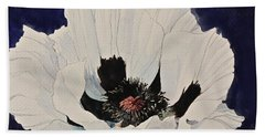 White Poppy-posthumously Presented Paintings Of Sachi Spohn  Bath Towel