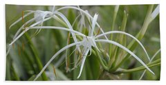 White Spider Orchid Bath Towel