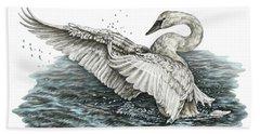 White Swan - Dreams Take Flight-tinted Hand Towel