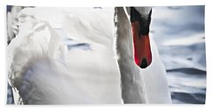 White Swan Hand Towel by Elena Elisseeva