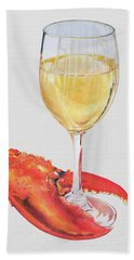 White Wine And Lobster Claw Hand Towel