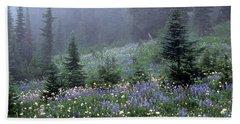 Wildflower Meadow Mt Rainier Bath Towel