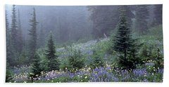 Wildflower Meadow Mt Rainier Bath Towel