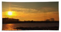 Hand Towel featuring the photograph Winter Country Sunset by Joel Witmeyer