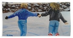 Hand Towel featuring the painting Winter Fun by Norm Starks