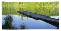 Bath Towel featuring the digital art Wooden Dock On Lake by Anne Mott
