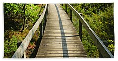 Wooden Walkway Through Forest Bath Towel
