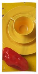 Yellow Cup And Plate Hand Towel