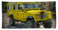 Bath Towel featuring the photograph Yellow Jeep by Adrian Evans