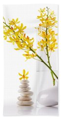 Hand Towel featuring the photograph Yellow Orchid Bunchs by Atiketta Sangasaeng