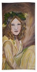 Bath Towel featuring the painting Yellow Rose by Julie Brugh Riffey