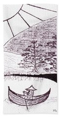 Zen Sumi Asian Lake Fisherman Black Ink On White Canvas Bath Towel