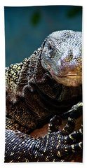 A Crocodile Monitor Portrait Hand Towel by Lana Trussell