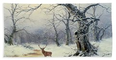 A Stag In A Wooded Landscape  Bath Towel