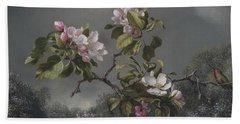 Apple Blossoms And Hummingbird Hand Towel