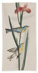 Blue Yellow-backed Warbler Hand Towel by John James Audubon