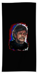 Hand Towel featuring the painting  Charles by Andrzej Szczerski