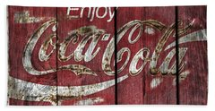 Coca Cola Sign Barn Wood Hand Towel