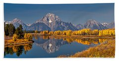 Fall Colors At Oxbow Bend In Grand Teton National Park Hand Towel