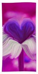 Bath Towel featuring the photograph  Flower Heart by Linda Sannuti