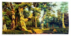 Hand Towel featuring the painting   Green Summer-the Oak Forest by Henryk Gorecki