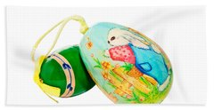 Hand Painted Easter Eggs Hand Towel by Susan Leggett
