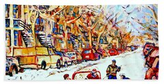 Hockey Game On Colonial Street  Near Roy Montreal City Scene Bath Towel