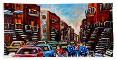 Hand Towel featuring the painting  Late Afternoon Street Hockey by Carole Spandau