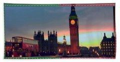 London Clock Tower And Double Deckker Bus Bath Towel